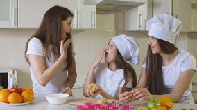 Family at Home in Kitchen Having a Good Time stock image