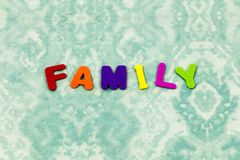 Family home learn people spell children foam toy. Education preschool spelling learning fun school teach love word letters royalty free stock photography