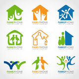 Family home logo with abstract human and home concept vector set design Stock Image