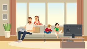 Family at home. Mother care about father. children playing game console. Vector cartoon characters. Family at home. Mother care about father, while children vector illustration