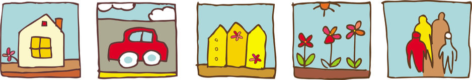 Family home pictograms. Cute icons: home car, fence, flower Royalty Free Illustration