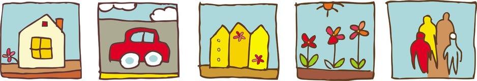 Family home pictograms Stock Photos