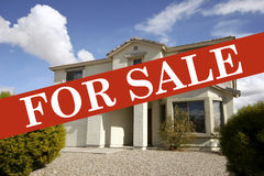 Family Home For Sale. Real estate home for sale advertisement stock images