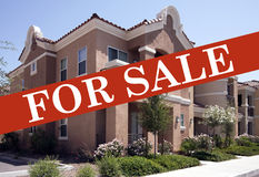 Family Home For Sale. Real estate home for sale advertisement royalty free stock image