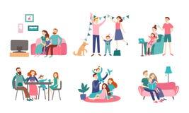 family home together Το νέο ζεύγος ξοδεύει το χρόνο με τα παιδιά, διάβασε το βιβλίο και διακόσμηση του σπιτιού Διάνυσμα Homelines ελεύθερη απεικόνιση δικαιώματος