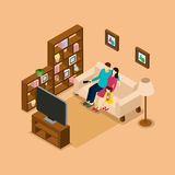 Family Home Watching TV Isometric Banner Stock Photos