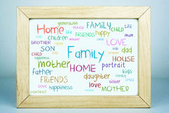 Family Home Word Cloud Concept Stock Photos