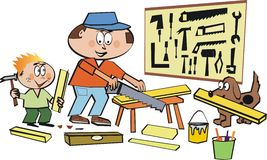 Family home workshop cartoon Royalty Free Stock Photo