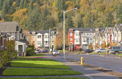 Family homes in a row Oregon. Stock Photo