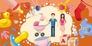 Family horizontal banner goods, cartoon style Stock Photos