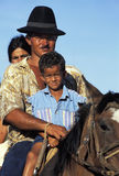 Family on a horse, Brazil. Royalty Free Stock Photo