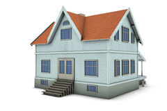 Family house. New family house. 3d illustration, isolated on white background Royalty Free Stock Photos