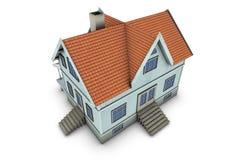 Family house. New family house. 3d illustration, isolated on white background Stock Photo