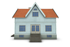 Family house. New family house. 3d illustration, isolated on white background Stock Photography