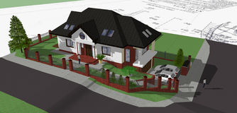 Family house. 3d model of family house Royalty Free Stock Image