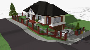 Family house. 3d model of family house Royalty Free Stock Photos