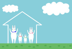 A family and a house. The family of the rabbit and a house and a blue sky Royalty Free Stock Image