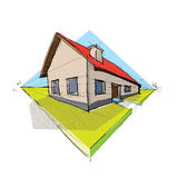 Family house. In perspective 3d - illustration Royalty Free Stock Images