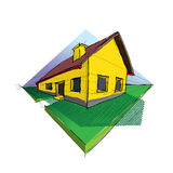 Family house. In perspective 3d - illustration Stock Photography