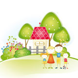 Family house. Cute and happy all family with as house Stock Photo