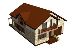 Family House 3D Render Royalty Free Stock Image