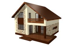 Family House 3D Render Royalty Free Stock Photo