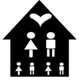 Family house. A family on a house with a heart over them Stock Images