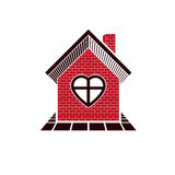 Family house abstract icon, harmony at home concept. Simple buil Stock Photo