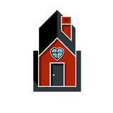 Family house abstract icon, harmony at home concept. Simple buil. Ding constructed with bricks, architecture theme symbol Stock Photography