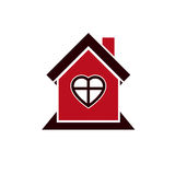 Family house abstract icon, harmony at home concept. Simple buil Stock Image