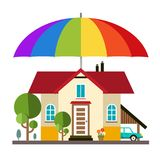 Family House with Big Colorful Umbrella. Parasol. Protection and Safety Symbol for Insurance Agencies. Vector Royalty Free Stock Photos