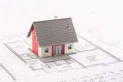 Family House on a blueprint. Model of a family house on a blueprint royalty free stock images