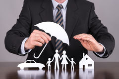 Family, house and car insurance concept Stock Image