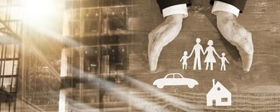 Family, house and car insurance concept; multiple exposure. Family, house and car covered by hands - insurance concept; multiple exposure royalty free stock image