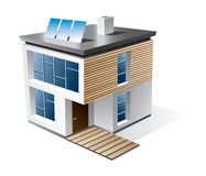 Family house cartoon icon. 3d  icon of modern family house with wood facade. Check my portfolio for more building types Royalty Free Stock Photography
