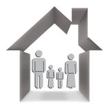 The family in the house conceptually.  Royalty Free Stock Photography