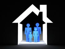 The family in the house conceptually. 3D images Stock Photo