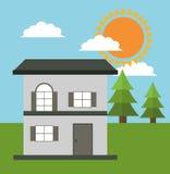Family house cottage energy eco solar Royalty Free Stock Images