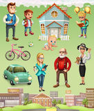 Family. House. 3d vector icon set. Family. Father and mother, grandmother and grandfather, son, daughter and baby. House. 3d vector icon set Stock Photo