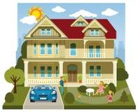 Family house (diorama) vector illustration