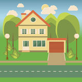 Family house in flat style. Landscape with a cottage, trees, bushes, a garage, sun and clouds in flat style.Vector illustration Royalty Free Stock Photos