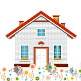 Family House with Flowers. Vector Design stock illustration