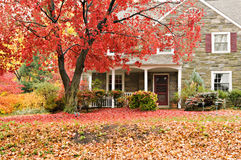 Family house with front lawn in fall colors