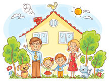 Family at the House. Happy cartoon family with two children and pets near their house with a garden, no gradients stock illustration
