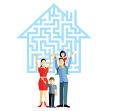 Family with house. Happy family in front of house silhouette with maze puzzle design Stock Image
