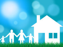 Family House Indicates Families Offspring And Children. Family House Showing Parents Property And Relatives Stock Photography