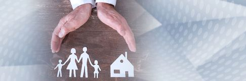 Family and house insurance concept. panoramic banner royalty free stock photos