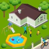 Family House Isometric Royalty Free Stock Image
