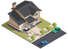 Family House isometry. Hyper detailing isometric view. Of the house and cars. 3D object for video games or real estate advertising. For Your business. Vetor Royalty Free Stock Photos