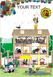 Family house and life poster stock image